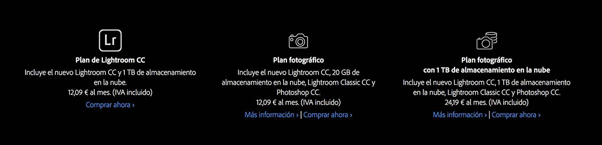 Precios de Adobe Lightroom