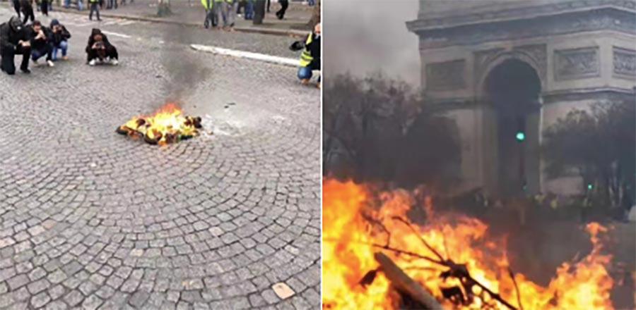 La perspectiva importa, pero ese montaje viral de las protestas en París es falso